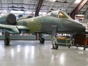 This A-10 Thunderbolt II is displayed in the main hanger.