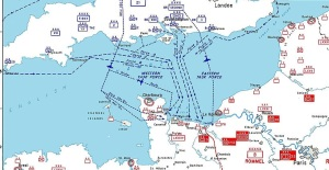 Map of Allied Invasion of Normandy Beaches Left to Right are Utah, Omaha, Gold, Juno, Sword