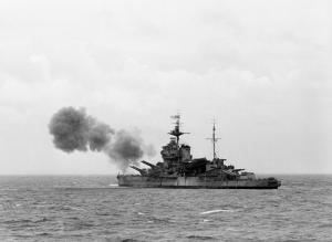 A British ship during the Normandy Invasion