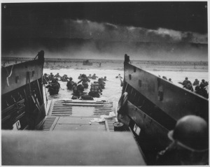 Attack troops go ashore in the Normandy Invasion