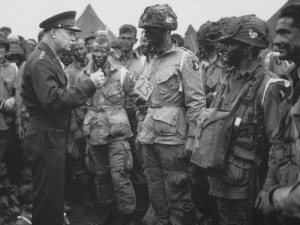 General Eisenhower meets with United States Troops before the Normandy Invasion