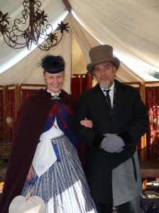 Miss Sarah and President Davis (re-enactor) at the Moorpark Civil War Re-enactment, 2012
