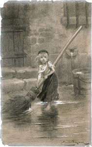 """""""...the poor child, in winter, not yet six years old...sweeping the street before daylight with an enormous broom I her little red hands and tears in her large eyes.""""  (Hugo, Les Miserables, page 157).  Will Young Cosette ever be rescued from the cruel innkeepers?"""