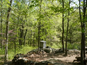 This is the 20th Maine's position and monument on Little Round Top, Gettysburg.  The large rock where the monument is today is approximately where Colonel Chamberlain stood when he ordered the bayonet charge.  (Photo by Miss Sarah, 2008)