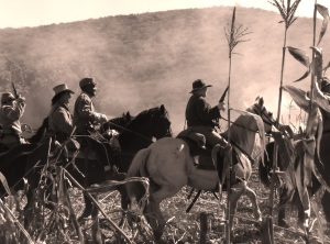 """The Union Cavalry played a significant role in """"The Burning"""" (Photo by Miss Sarah at Moorpark Re-enactment 2012)"""