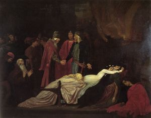 The Reconciliation of the Capulets and Montagues; painting by Frederick Leighton (Public Domain)
