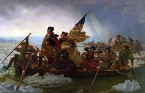 """Washington Cross the Delaware"" (1851 painting) As unauthentic as possible, yet this painting is iconic in American culture."