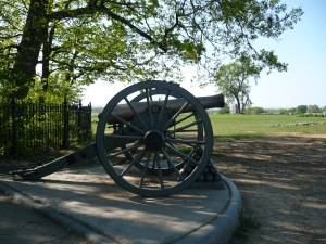 A former noisemaker, now rests peacefully in the High Water Mark Memorial at Gettysburg.