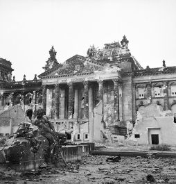 Ruins of the Reichstag in Berlin after the battle, 1945