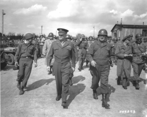 Eisenhower (center) and generals at Buchenwald