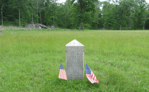 This is the 27th marker in the meadow. The photo looks toward where the Confederate lines would have been. (http://gettysburg.stonesentinels.com/union-monuments/indiana/27th-indiana/)