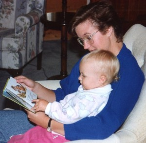 My mom reading to me when I was little.