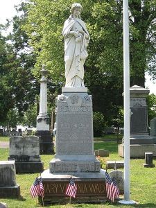 Virginia's grave and memorial in Evergreen Cemetery, Gettysburg (Public Domain)
