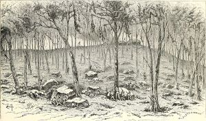 A sketch of the fighting on Culp's Hill on July 2nd or 3rd