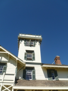 Looking up at the tower of Point Fermin Lighthouse
