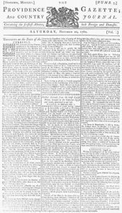 """The Providence Gazette in 1762 - newspapers were an important form of information sharing in Colonial America. (I just love the word """"gazette""""!)"""