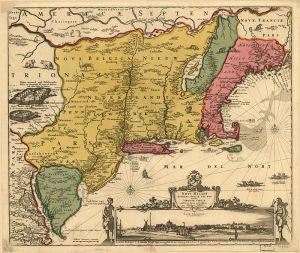 1685 Map of New Netherland, marked mostly in gold. (Public Domain)
