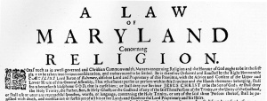 Broadside of the Maryland Toleration Act