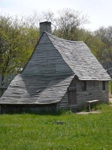 A replica of a Pilgrim home (Plimoth Plantation Living History Village)