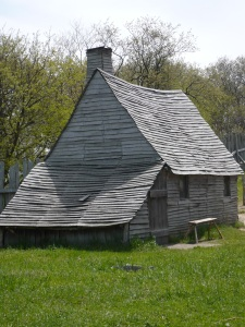 A replica of a Pilgrim home (Plimoth Plantation Living History Village)