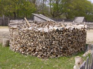 Kids, want to chop and stack the wood? This would've been a job Pilgrim boys helped with.