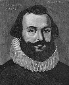 An artist's image of Captain Myles Standish. It is not confirmed if the image is based on a real painting from the 1600's.