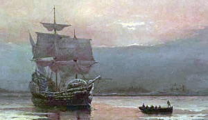 The Mayflower anchored near land.