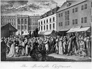 """Joy To The World"" was written in the 18th Century; this is a sketch of a Christmas market scene in that century."