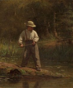 This young lad wears simple clothing while fishing. (Good detail of suspenders!)