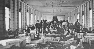 A crowded Civil War hospital ward