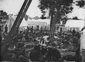 A field hospital photograph (though not taken at Gettysburg) gives an idea of the chaos which would occur if this scene was flooded by a creek.