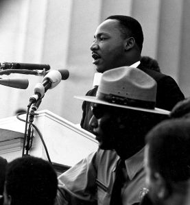 Martin Luther King, Jr. making his famous speech at the Lincoln Memorial in 1963