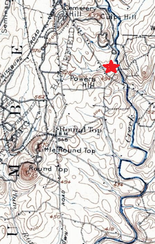 This map gives an idea of Rock Creek's winding path east of Gettysburg. I've marked the approximate location of the Westmore's home with a red star.