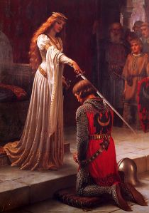 A highly idealized/romanticized (and beautiful) painting of the a knighting ceremony.