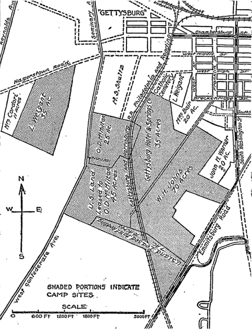 A map from the 1913 Gettysburg Reunion. Look closely and you'll see the railroad tracks running through the middle of the camp.