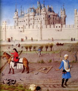 An image from the Late Middle Ages, showing feudalism and the increasing strength of the nobility and their fortresses