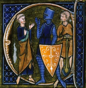 A Cleric, Knight, and Workman, symbolizing the social classes of the Middle Ages.