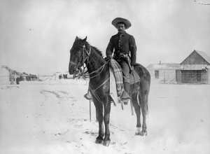 A Buffalo Soldier of the 9th U.S. Cavalry, near Denver, Colorado, in the 1890's.