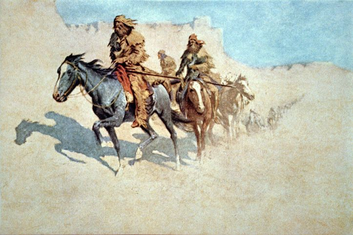 """""""Jedidiah Smith's Party Crossing the Burning Mojave Desert"""" by Frederic Remington"""