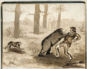 A mountain man fights a grizzly bear in this 19th Century artwork.
