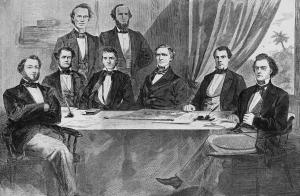 Davis (3rd from right) and the first Confederate Cabinet