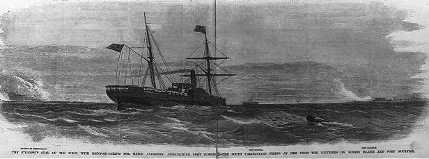 """Star of the West"" was one of the ships sent toward Fort Sumter with supplies and reinforcements"