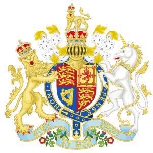 Coat of Arms of the United Kingdom during Queen Victorian's reign (American Civil War era). Notice the harp on the lower left corner of the shield; that symbolized Ireland.