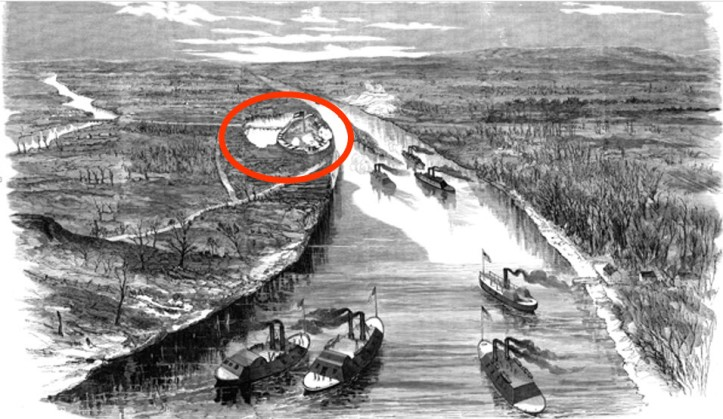 Fort Henry on the Tennessee River (the fort is circled with red)