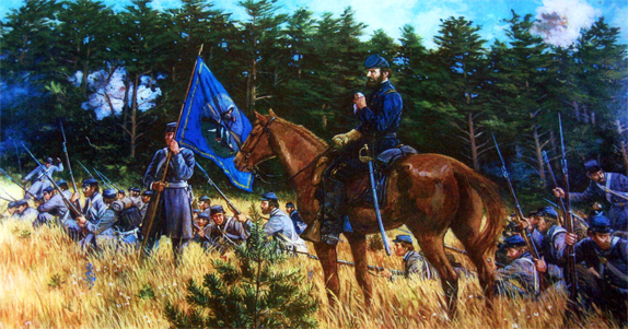 General Jackson and the flag of the 1st Virginia Brigade at First Manassas (Found on www.gettysburgdaily.com/150th-anniversary-battle-of-first-manassas-part-5/ ; no copyright infringement intended)