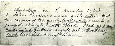 "A ""prophetic"" note written by John Brown on the morning of his execution."