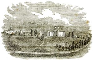 Jones had attended Virginia Military Institute; his extra military knowledge got him the temporary post of adjutant general at Harper's Ferry. VMI buildings and parade ground are pictured in this engraving.