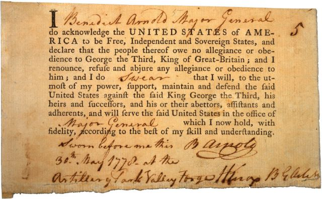 Benedict Arnold's signed Oath of Alliance to the United States of America.