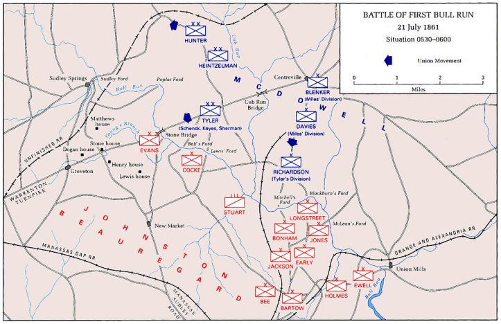 First Battle of Bull Run Map, Situation in the early morning on July 21, 1861. (Public Domain)