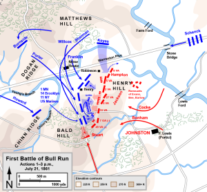 Map of First Battle of Bull Run (2pm, July 21, 1861 of the American Civil War. Drawn in Adobe Illustrator CS5 by Hal Jespersen. Graphic source file is available at http://www.CWmaps.com/